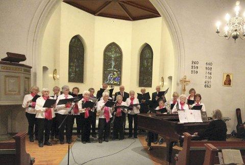 PÅ PLASS: Ås seniorkor vender tilbake til Ås kirke søndag. Bildet er fra salmemaraton i 2013.  FOTO: STIG PERSSON
