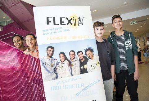Flexid: Som ledd i VIS-prosjektet har Mesterfjellet skole lansert programmet Flexid, som skal være en arena for elever med flerkulturell bakgrunn. F.v.: Meskerem Goytom (15), Deborah Jonas (14), Belmin Halilovic (14) og Ali Reza Jaffari (15).