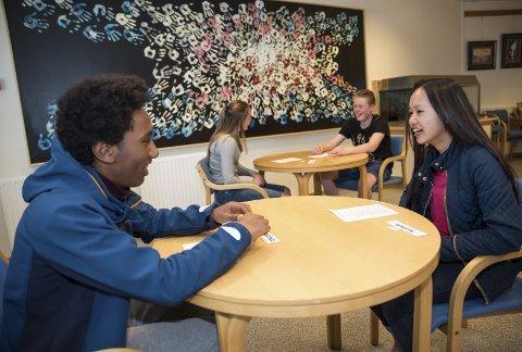 Speeddating: Som ledd i VIS-prosjektet har Hedrum ungdomsskole arrangert VIS-dag. En av aktivitetene var her såkalt speeddating, der elever skulle bli kjent på tvers av trinn, to og to. Hver elev representerte en afrikansk hovedstad, og fikk en liste med spørsmål i tilfelle de selv ikke kom på noen. F.v.: Fanuel Mengstab (15), Nini Pham (15), Tina Marie Lilleeng (14) og Fredrik Aks (14). I bakgrunnen er VIS-veggen elevene har laget med egne håndavtrykk.