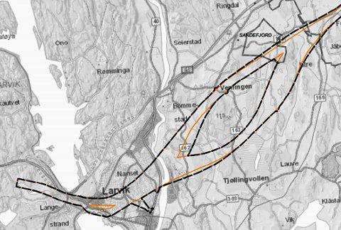 Her er de alternative korridorene, med endringene på Verningen-korridoren og ved Thor Heyerdahl vgs. Svart stiplet linje er det endrede planområdet og gul linje er tidligere varslet planområde.