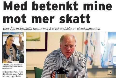 VAR BETENKT: Tidligere ordfører Jon Pieter Flølo hadde betenkt mine da han stemte for utvidet eiendomsskatt i formannskapet for ti år siden. Faksimile fra PD 23. april, 2010.