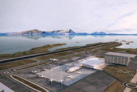 Den nye flyplassen i Bodø skal etter planen stå ferdig mellom 2024 og 2026. Illustrasjon: Avinor