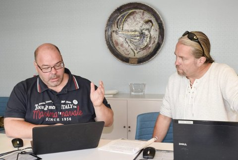 Axel Sjøberg og Bård Brørby diskuterte spørsmål om blant annet sammenslåing, samarbeid og miljø.