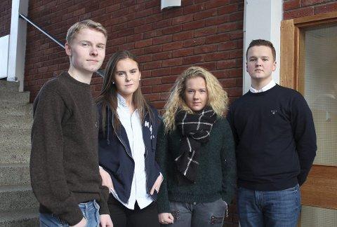 Sigurd Kittelsrud (17), Hilde Palerud (16), Synne Strømmen (17) og Simen Bredesen (18) har ulike meninger om skolesammenslåingen.