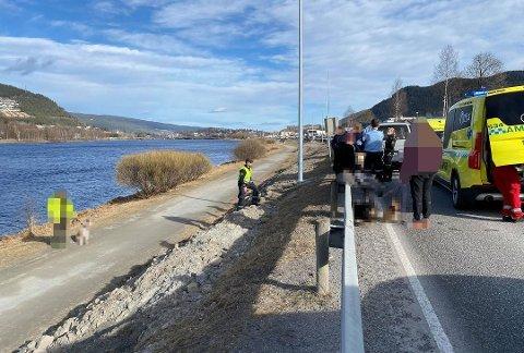 ANGREP: Det ble blodig da en hund angrep og skadet flere personer i en hendelse i Mjøndalen i slutten av mars.