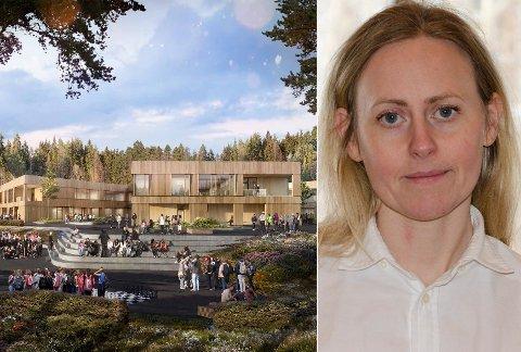 KRITISK: Nina Basberg (Sp) er for å bygge ut Hov ungdomsskole selv om den blir dyrere enn planlagt. Men hun skulle ønske seg at informasjonen om kvikkleire hadde kommet fram tidligere. Illustrasjon: Cadman/L2 Arkitekter