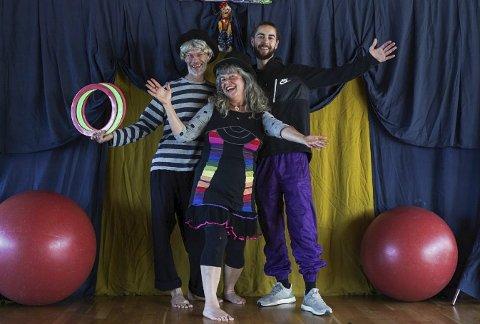 FEST: Cirkus Sibylla feirer 30 år med stort familiearrangement. fra venstre: Carl Olsen, Ivanir Sibylla Hasson og Kerang Olsen