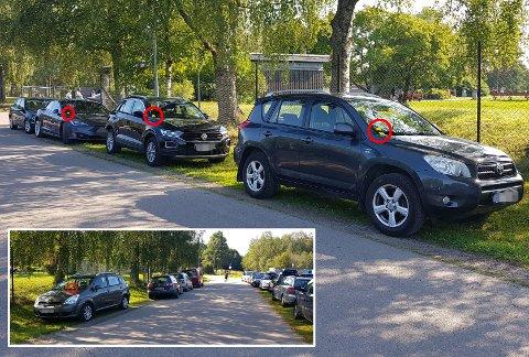 BØTER: Mange bileiere fikk bøter etter å ha feilparkert ved Nebbursvollen fredag.