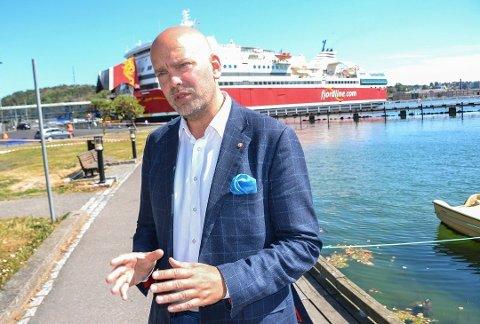 NY BÅT: Når den nye Sandefjord-Strømstad-ferjen kommer i januar 2020, kan den få norsk flagg. – Det bestemmes nærmere sommeren, sier den svenske Fjord Line-sjefen Rickard Ternblom.