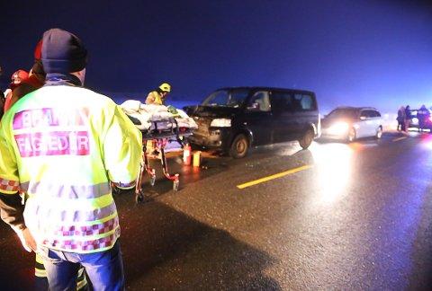 Trafikkulykke Rakkestad 28.01.2018 Ti personer skadet.