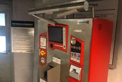 En parkeringsautomat under Storbyen har blitt utsatt for hærverk.