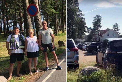 OPPGITTE: Jon Mathisen (til høyre) og Linne Blake måtte kjøre flere mil for å finne en ledig parkeringsplass lørdag. De får støtte av Rune Klevstad, som også mener at noe bør gjøres for å løse problemet: – Det er helt tragisk, sier han.