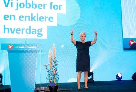 Siv Jensen ble lørdag gjenvalgt som Fremskrittspartiets leder for to nye år.