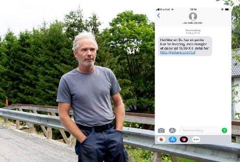 FORSØKT SVINDLET: Denne tekstmeldingen (innfelt) mottok Morten Sanders i forrige uke. Nå advarer han andre som har fått den samme meldingen eller lignende.