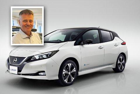 STOR INTERESSE: Daglig leder i Mobile Jarlsberg, Bjørn Georg Sørensen, forteller om stort salg av den nye Nissan Leaf.