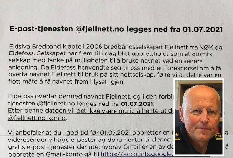 OPPGITT: Knut N. Mælen på Tynset måtte ty til advokatbistand for å få tilgang til epostkontoen sin etter kundetrøbbel med Eidsiva Bredbånd.