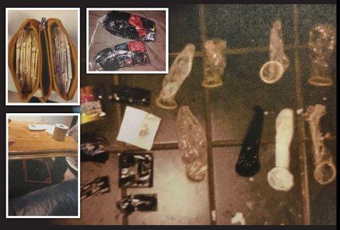 Penger, brukte kondomer og en regnskapsbok under et bord, var noe av det politiet beslagla etter razzian mot leiligheten.