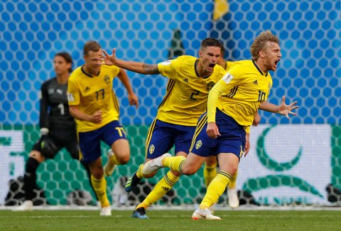 Emil Forsberg scoret Sveriges eneste mål, og sendte med det laget til kvartfinale.