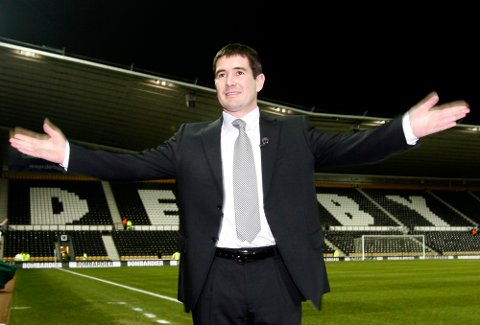 Derby County's new manager Nigel Clough is seen before a press conference to introduce him as the club's new manager and prior to the team's English League Cup soccer match against Manchester United at Pride Park Stadium, Derby, England, Wednesday Jan. 7, 2009. (AP Photo/Jon Super) ** NO INTERNET/MOBILE USAGE WITHOUT FOOTBALL ASSOCIATION PREMIER LEAGUE (FAPL) LICENCE. CALL +44 (0) 20 7864 9121 or EMAIL info@football-dataco.com FOR DETAILS **