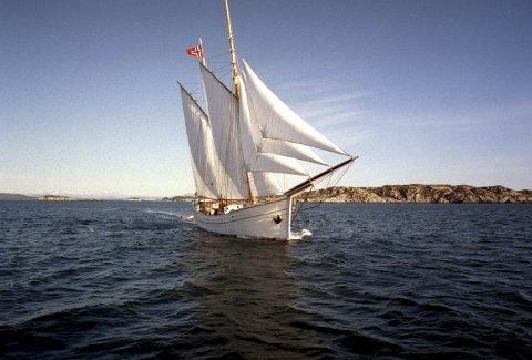 «Som en liten hvit svane» kommer Loyal seilende for fulle seil. Galeasen er et flott syn, og den seiler like godt utenlands som innaskjærs. Foto: BA