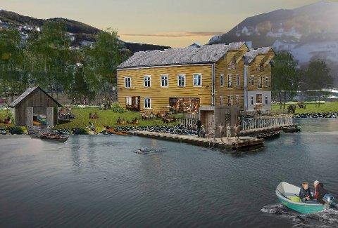 Å få gjenreist de to sjøbodene og gjøre de til samlingspunkt for alle som bør i Fløen og Møllendal-området, er det store målet for velforeningen. Her er skissen som nå foreligger. Foto: UTMARK ARKITEKTUR