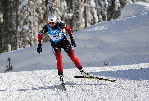 KJEMPER OM STAFETTPLASS: Ida Lien fra Simostranda leverte en god søknad med en ny 17. plass på jaktstarten i VM i skiskyting søndag og er aktuell for stafetten neste lørdag.