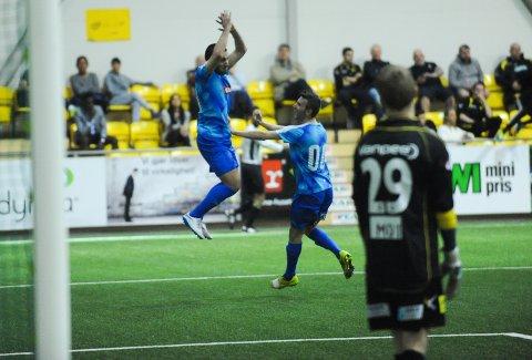 TOMÅLSSCORER: Mergim Hereqi (22) feirer sitt andre mål i 4-3 seieren mot Lillestrøm 2.