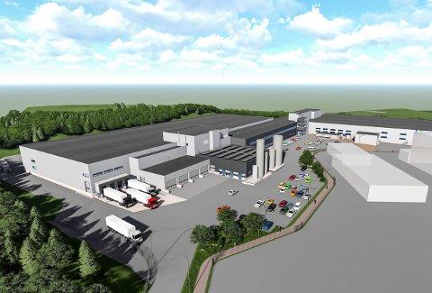 NYBYGG: Slik vil Bamas bygg på Tranby i Lier fremstå når det er ferdig med 22.500 kvadratmeter grunnflate og 32.000 kvadratmeter bruksareal.