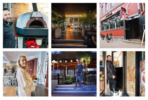NYTT: Drammen sentrum har fått og får flere spisesteder og utesteder. Øverst f.v: That's Amore åpner i juni, Kawa åpner 28. mai, Gulating Pub åpnet i fjor høst. Nederst f.v: Nelenas Spiseri åpner i mai/juni, Mesa 52 åpnet i fjor høst, Damaskus bakeri åpnet i vår.