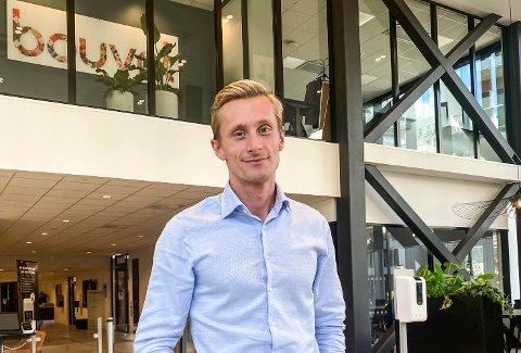 I NY JOBB: Ferdinand Kvan Edman på sin nye arbeidsplass i konsulentselskapet Bouvet i Oslo sentrum.