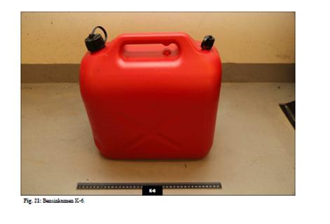 Dette er bensinkannen som politiet beslagla etter pågripelsen av de to mennene. (Sveip)