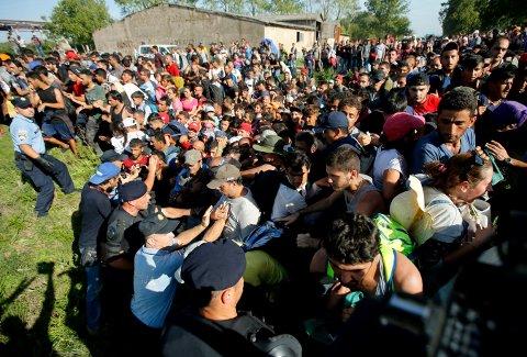 IKKJE KRIMINELT: Å søke vern er ikkje ei kriminell handling, og flyktningar skal ikkje behandlast som kriminelle, skriv artikkelforfattarane. Bildet viser flyktningar prøver å kome seg inn i Kroatia september 2015.