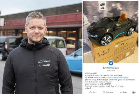ÅTVARAR: Er du kontakta av Førde Bilsalg på Facebook nyleg, bør du vere ekstra merksam. Det seier Geir Thomas Espe. Han oppdaga at svindlarar har kopiert ein ekte konkurranse dei har ute i desse dagar.