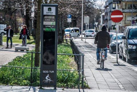 NESTEN HALVERT: Sykkeltelleren utenfor rådhuset registrerte 531 syklister i 2014. I fjor var tallet 271.