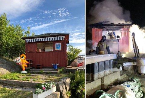 Den idylliske Hakankiosken på Slevik brygge har brent helt ned.