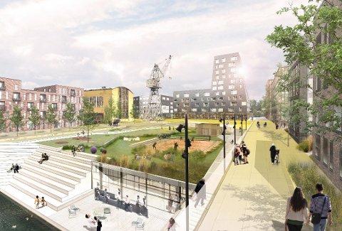 Solplassen: Ved tørrdokka på FMV ser Jotne Eiendom for seg en stor park i enden av dokka på taket av et parkeringshus. Den skal fungere som kjernen i området. I bakgrunnen ses det som kan bli hotell, den gamle krana og Sveisehall 1 (i gult).