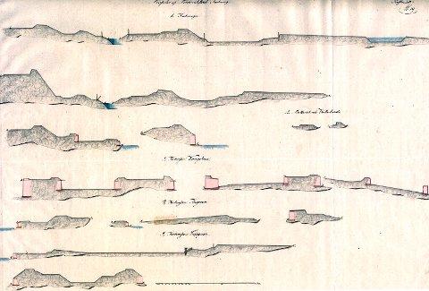 Profiler af Friderichstad Fæstning. 1700-tallet. Krigsarkivet, Stockholm. 1. Fæstningen  2. Batteriet ved Vatterland  3. Fortressen Kongsteen  4. Fortressen Isegran  5. Fortressen Cicignon.
