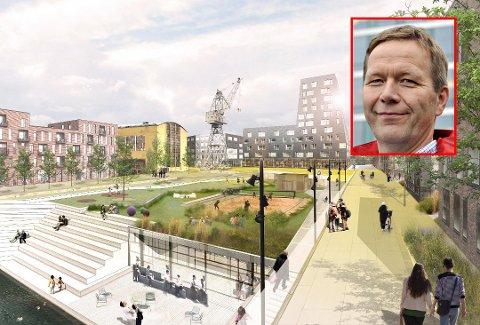Stor utbygging: Helt sentralt i Jotnes utviklingsprosjekt står tørrdokka. Her ser Jotne Eiendom for seg en stor park i enden av dokka på parkeringshusets tak. Den skal fungere som selve kjernen i området. I bakgrunnen ses det som kan bli hotell, den gamle krana og Sveisehall 1 (i gult). Nå er Per Olav Bernhardsen (innfelt) blitt ansatt som utviklingsdirektør og leder av prosjektet.