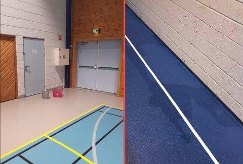 Vann inne: Det blir vått i både idrettshallen (til venstre) og gymsalen (til høyre) når det regner. Da må det settes ut bøtter for å samle opp vannet. Bildene er tatt denne uken.