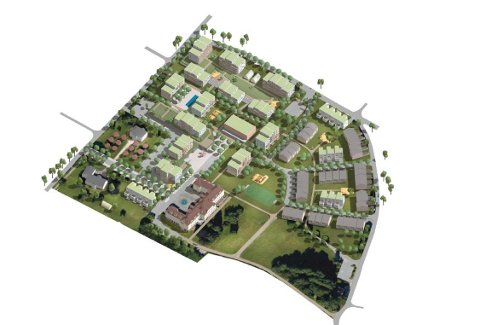 VIL BEHOLDE SYKEHUSBYGGET: En foreløpig skisse over hvordan den tidligere sykehustomta på Veum kan bygges ut. Planen er å  beholde det gamle hovedbygget, og sette opp leiligheter og rekkehus rundt.