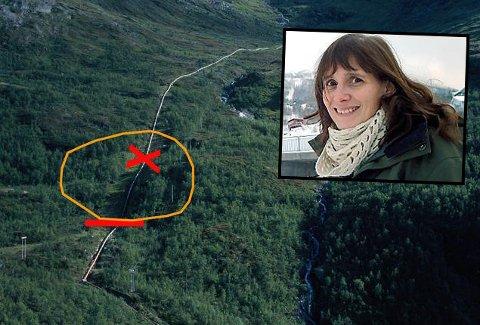 LEKKASJE: På det markerte stedet på kartet har lekkasjen oppstått. Daglig leder i Narvik Vann, Trude Bertnes (innfelt), sier de har kontroll på situasjonen. Foto: Narvik Vann/Arkiv