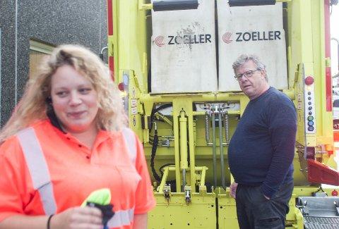 Malene Dirdal har fast jobb på bossbilen. Grunnlaget for den faste jobben ble lagt hos Oddbjørn Fosse og Miljøservice.