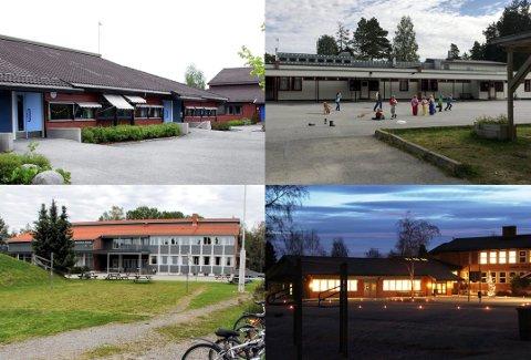 GRENDESKOLENE: Ullern, Disenå, Slåstad og Sander.