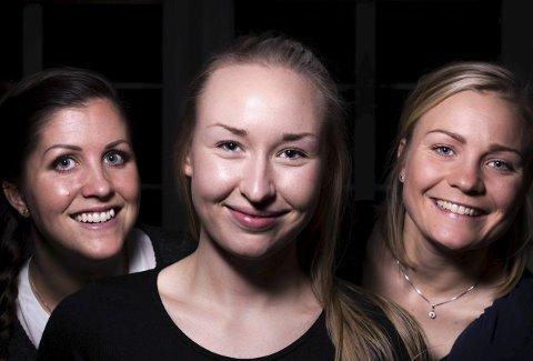 GOD STEMNING: Caroline Olsen (tv), Mina Authen og Emilie Moberg er tre av byens råeste idrettskvinner, i henholdsvis roadracing, håndball og sykling. – Vi liker å pynte oss og være kvinnelige, men setter grenser.