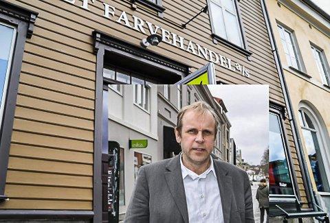 LEDIG: Huseier Ole Kristian Sørlie sier lokalene etter Torvet Farvehandel fortsatt er ledig. Fotomontasje.