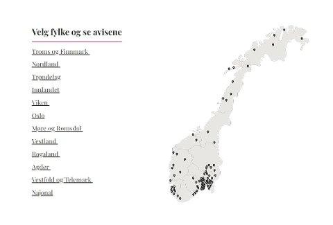HELE NORGE: Amedias over 70 aviser er spredd over hele Norge. Fra Agder i sør til Finnmark i nord.
