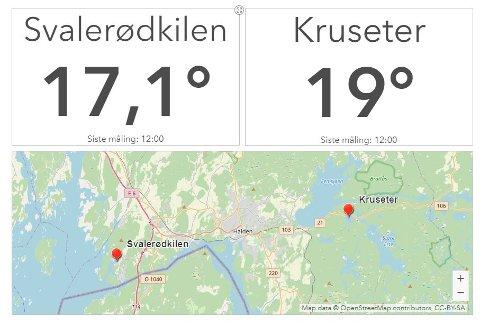 VARMERE: Snart er det over 20 grader i vannet på Kruseter hvis varmen fortsetter. Og det melder yr om at den vil gjøre i flere dager.