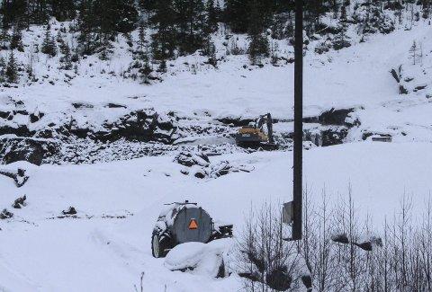 Ulykke: Fra ulykkesstedet i Forsmolia steinbrudd. Foto: Vegard Olsen