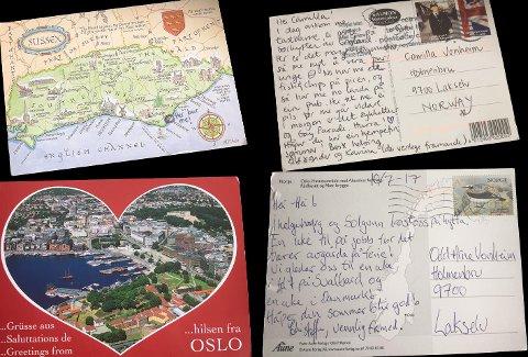 FRA OSLO OG LONDON: Her er kortene som familien Vonheim fikk, fra henholdsvis Oslo og London