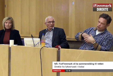 Pressekonferanse: Organisasjonen For Finnmark hadde pressekonferanse i fylkestingssalen onsdag. Her Torill Olsen, Arne Pedersen og advokat Geir Johan Nilsen fra Aabø-Evensen & Co Advokatfirma AS i Oslo
